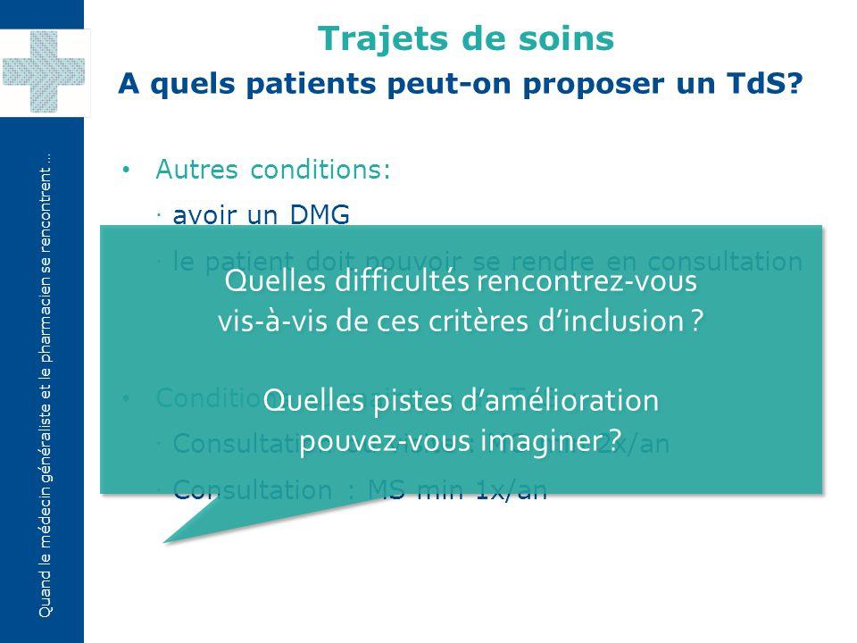 Quand le médecin généraliste et le pharmacien se rencontrent … Autres conditions: ·avoir un DMG ·le patient doit pouvoir se rendre en consultation Con