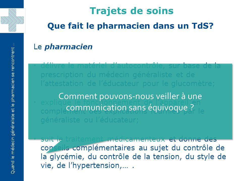 Quand le médecin généraliste et le pharmacien se rencontrent … Glucomètre, 150 tigettes et 100 lancettes «TRAJET DE SOINS» 1.