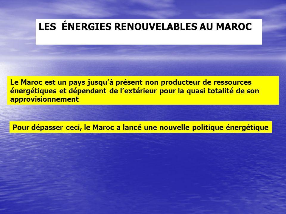 LES ÉNERGIES RENOUVELABLES AU MAROC Le Maroc est un pays jusqu'à présent non producteur de ressources énergétiques et dépendant de l'extérieur pour la