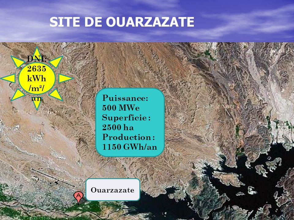 DNI: 2635 kWh /m²/ an Puissance: 500 MWe Superficie : 2500 ha Production : 1150 GWh/an Ouarzazate SITE DE OUARZAZATE