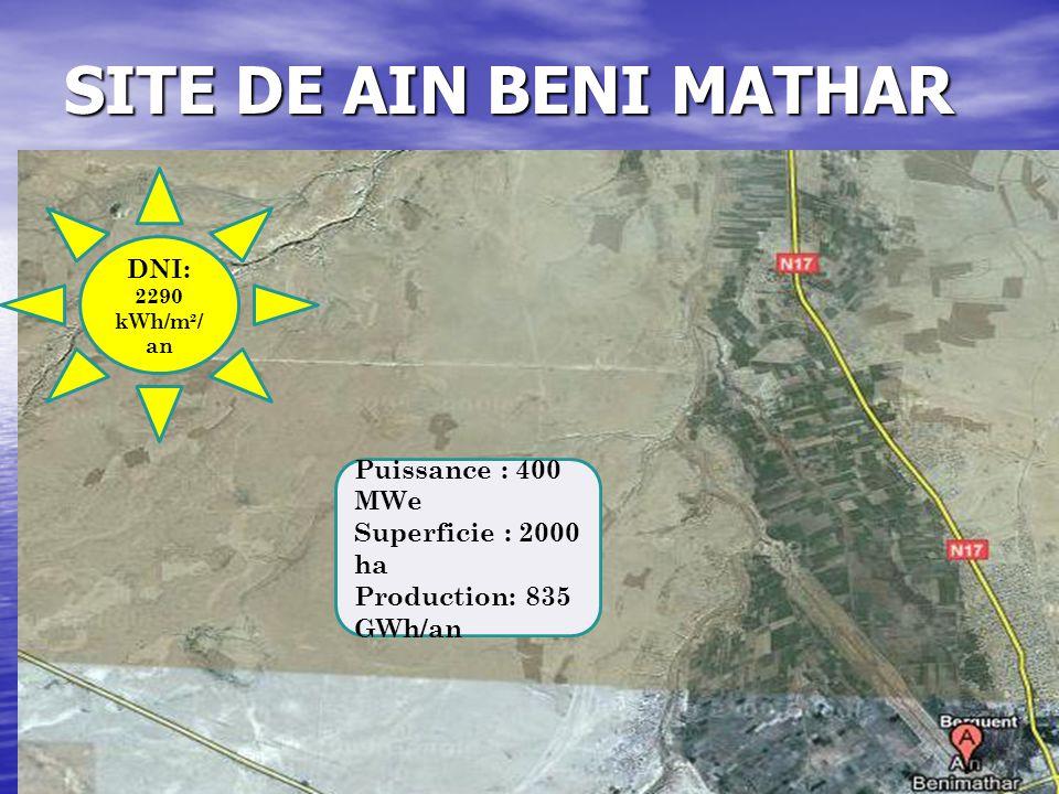 SITE DE AIN BENI MATHAR DNI: 2290 kWh/m²/ an Puissance : 400 MWe Superficie : 2000 ha Production: 835 GWh/an