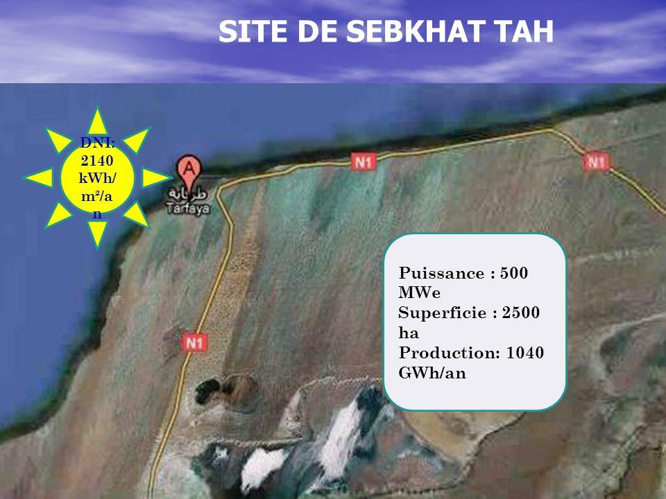 SITE DE SEBKHAT TAH DNI: 2140 kWh/ m²/a n Puissance : 500 MWe Superficie : 2500 ha Production: 1040 GWh/an