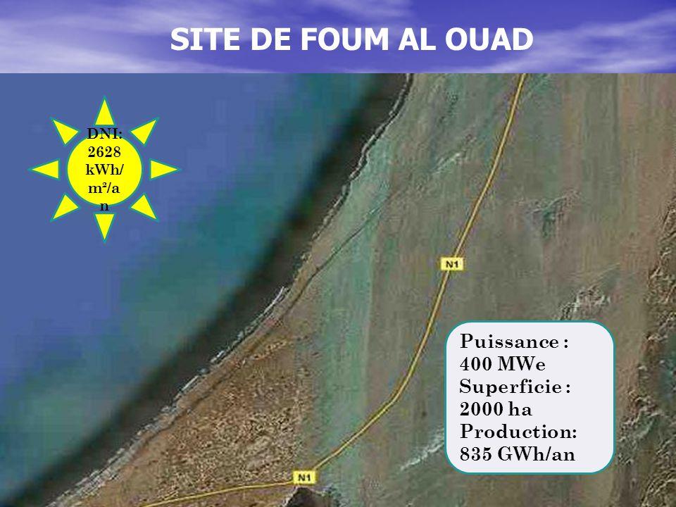 SITE DE FOUM AL OUAD DNI: 2628 kWh/ m²/a n Puissance : 400 MWe Superficie : 2000 ha Production: 835 GWh/an