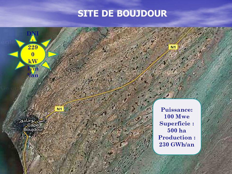 SITE DE BOUJDOUR DNI : 229 0 kW h/m ²/an Puissance: 100 Mwe Superficie : 500 ha Production : 230 GWh/an