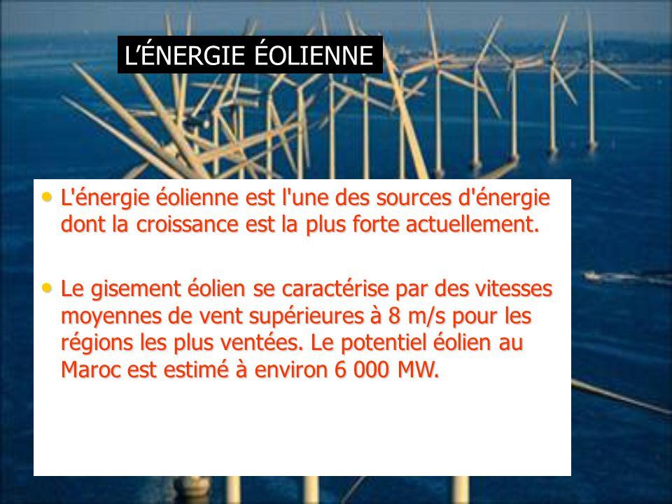 L'ÉNERGIE ÉOLIENNE L'énergie éolienne est l'une des sources d'énergie dont la croissance est la plus forte actuellement. L'énergie éolienne est l'une