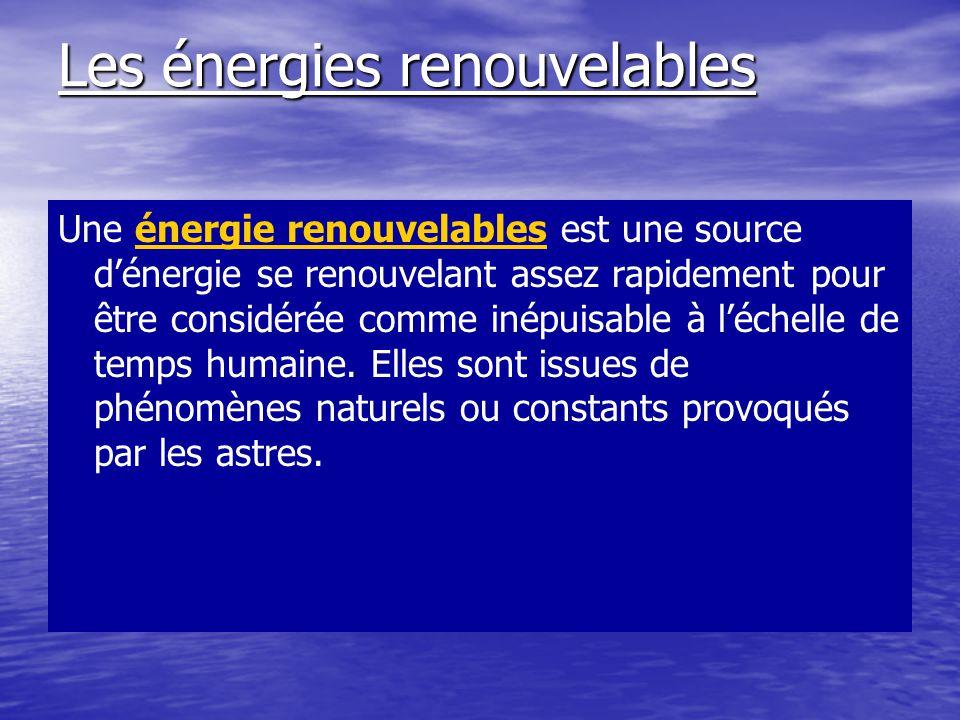 Les énergies renouvelables Une énergie renouvelables est une source d'énergie se renouvelant assez rapidement pour être considérée comme inépuisable à