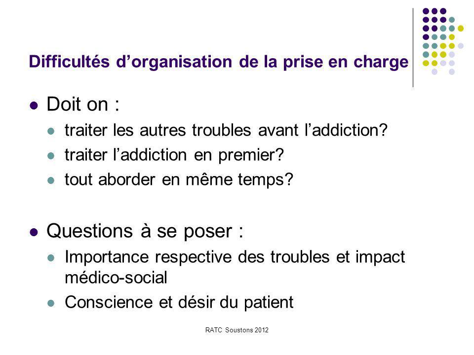 RATC Soustons 2012 Difficultés d'organisation de la prise en charge Doit on : traiter les autres troubles avant l'addiction? traiter l'addiction en pr