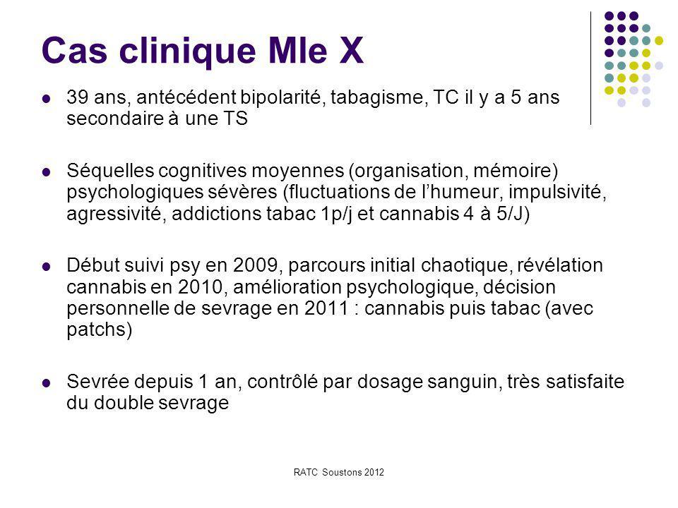 RATC Soustons 2012 Cas clinique Mle X 39 ans, antécédent bipolarité, tabagisme, TC il y a 5 ans secondaire à une TS Séquelles cognitives moyennes (org