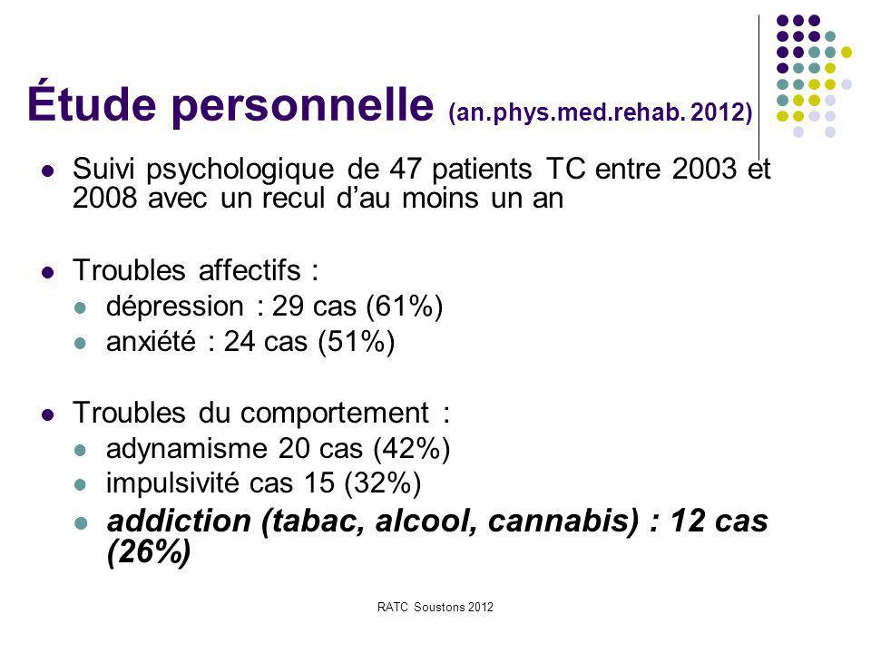 RATC Soustons 2012 Étude personnelle (an.phys.med.rehab. 2012) Suivi psychologique de 47 patients TC entre 2003 et 2008 avec un recul d'au moins un an
