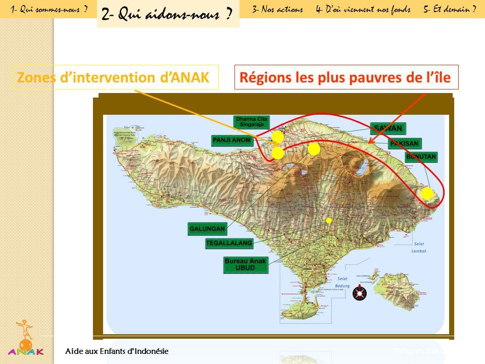 Zones d'intervention d'ANAK Régions les plus pauvres de l'île Aide aux Enfants d'IndonésiePrésentation Générale 1- Qui sommes-nous .