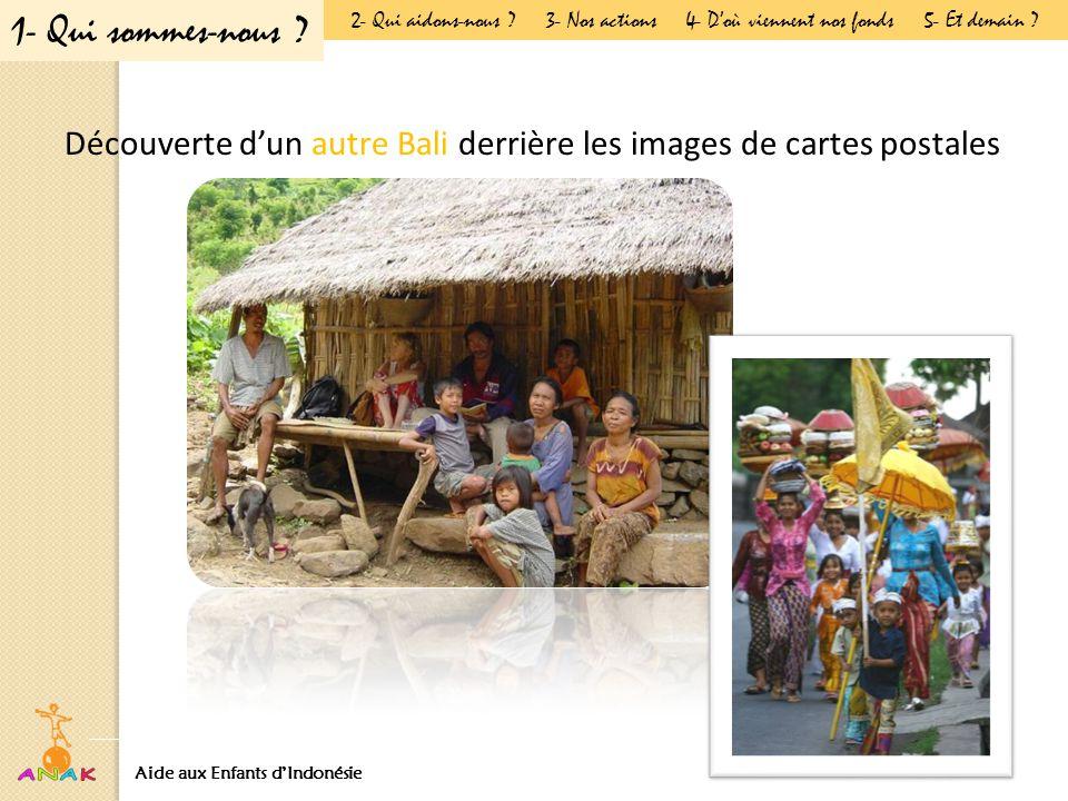 Découverte d'un autre Bali derrière les images de cartes postales Aide aux Enfants d'IndonésiePrésentation Générale 1- Qui sommes-nous .