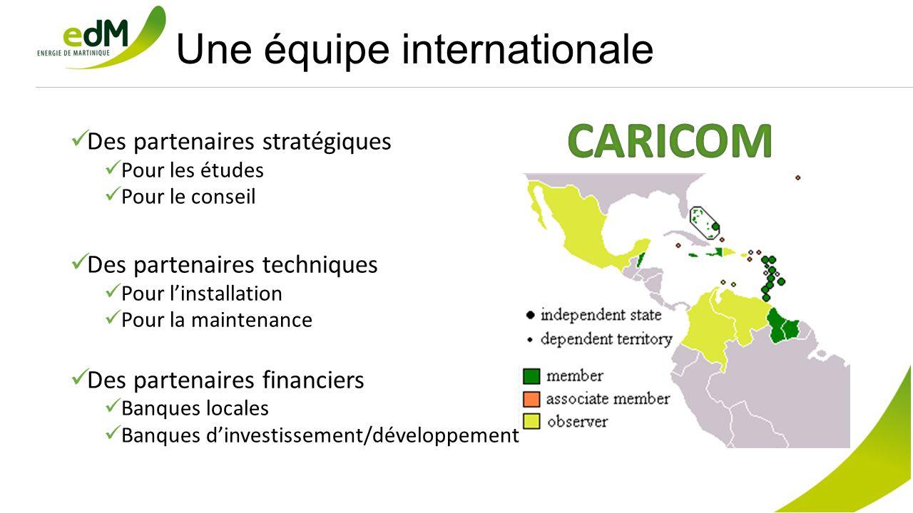 Une équipe internationale Des partenaires stratégiques Pour les études Pour le conseil Des partenaires techniques Pour l'installation Pour la maintenance Des partenaires financiers Banques locales Banques d'investissement/développement