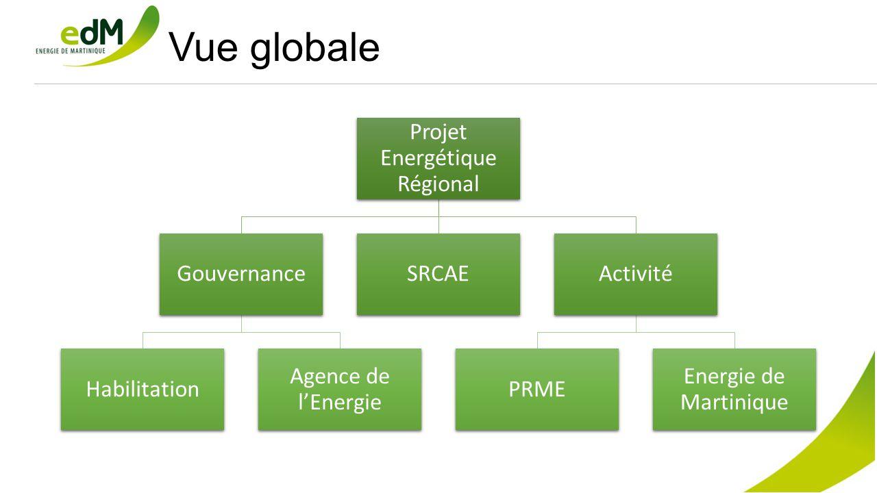 Vue globale Projet Energétique Régional Gouvernance Habilitation Agence de l'Energie SRCAEActivité PRME Energie de Martinique