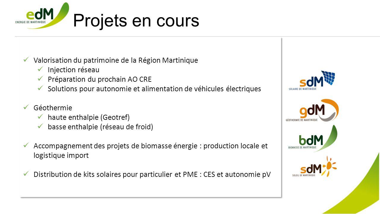 Projets en cours Valorisation du patrimoine de la Région Martinique Injection réseau Préparation du prochain AO CRE Solutions pour autonomie et alimen