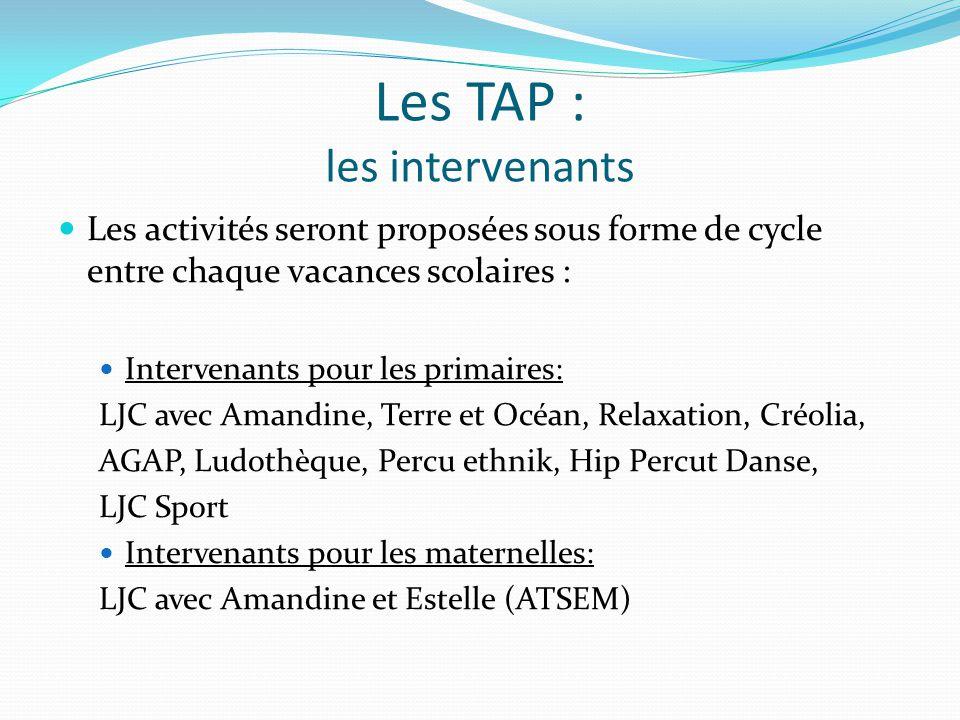 Les TAP : les intervenants Les activités seront proposées sous forme de cycle entre chaque vacances scolaires : Intervenants pour les primaires: LJC avec Amandine, Terre et Océan, Relaxation, Créolia, AGAP, Ludothèque, Percu ethnik, Hip Percut Danse, LJC Sport Intervenants pour les maternelles: LJC avec Amandine et Estelle (ATSEM)