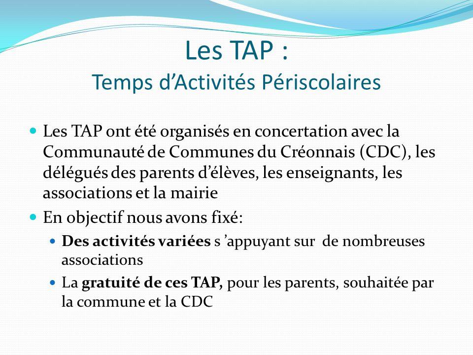 Les TAP : Temps d'Activités Périscolaires Les TAP ont été organisés en concertation avec la Communauté de Communes du Créonnais (CDC), les délégués des parents d'élèves, les enseignants, les associations et la mairie En objectif nous avons fixé: Des activités variées s 'appuyant sur de nombreuses associations La gratuité de ces TAP, pour les parents, souhaitée par la commune et la CDC