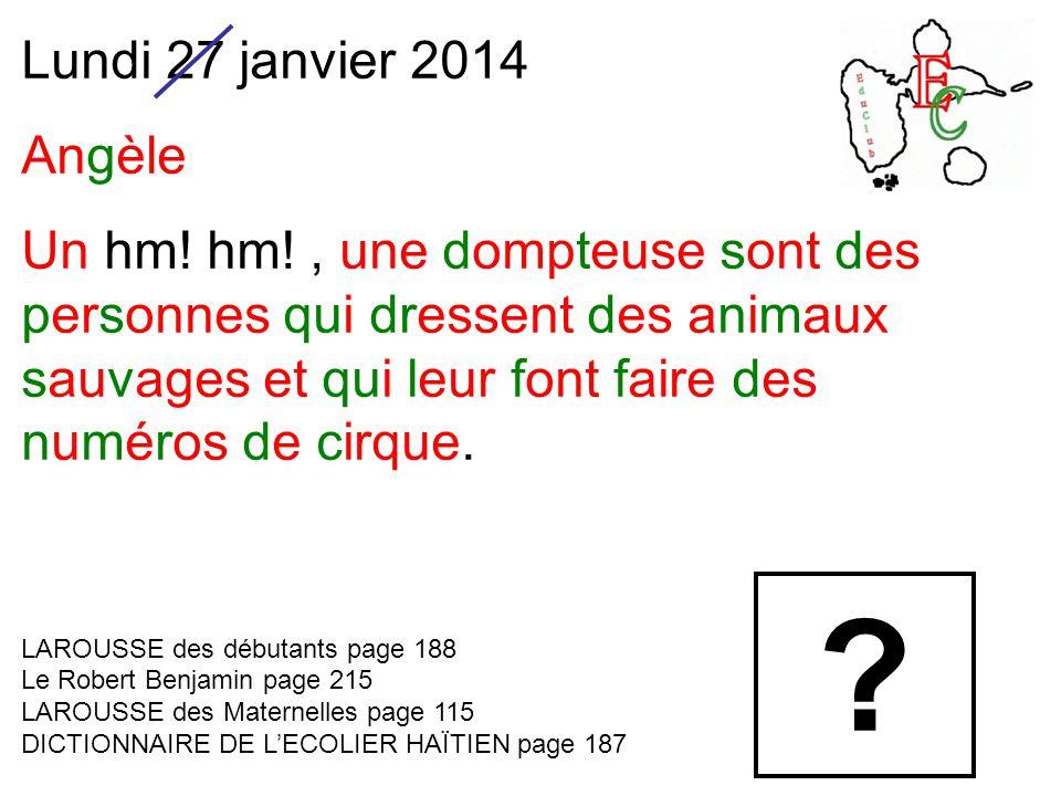 Lundi 27 janvier 2014 Angèle Un hm.