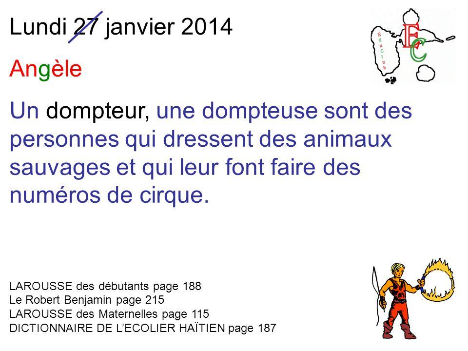 Lundi 27 janvier 2014 Angèle Un dompteur, une dompteuse sont des personnes qui dressent des animaux sauvages et qui leur font faire des numéros de cirque.
