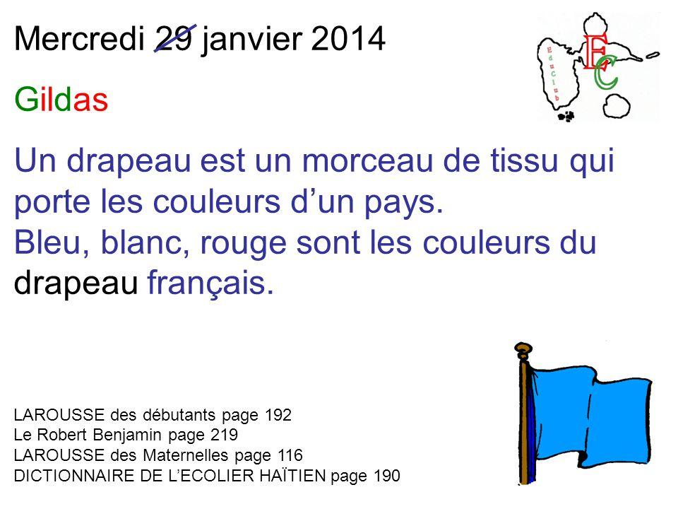 Mercredi 29 janvier 2014 Gildas Un drapeau est un morceau de tissu qui porte les couleurs d'un pays.