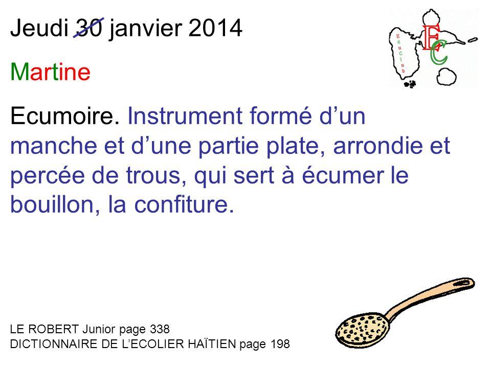 Jeudi 30 janvier 2014 Martine Ecumoire.