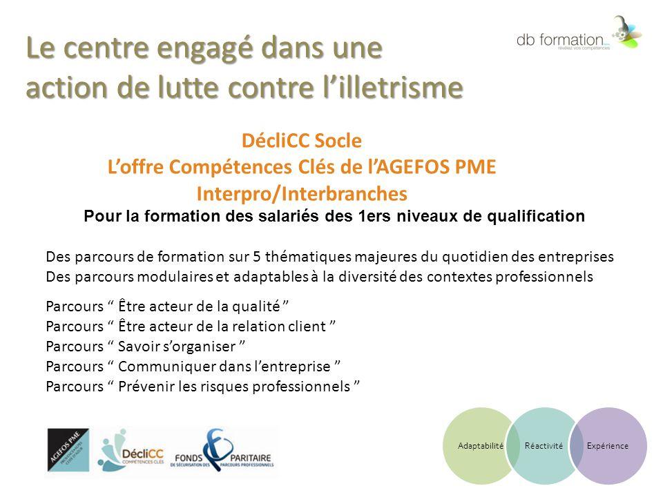 Le centre engagé dans une action de lutte contre l'illetrisme DécliCC Socle L'offre Compétences Clés de l'AGEFOS PME Interpro/Interbranches Pour la fo