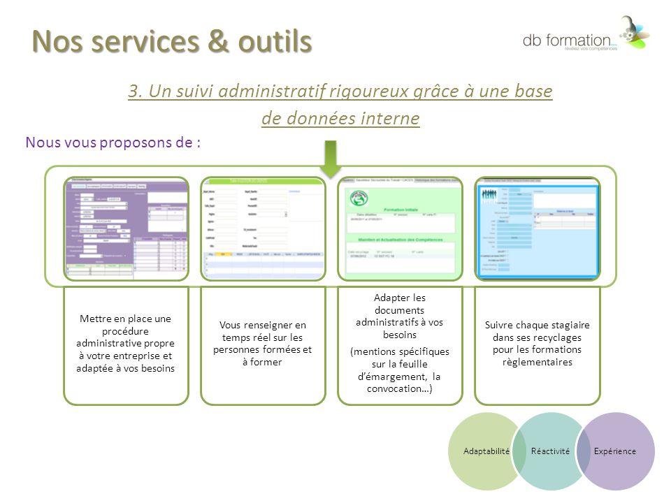 Nos services & outils 3. Un suivi administratif rigoureux grâce à une base de données interne Nous vous proposons de : Mettre en place une procédure a