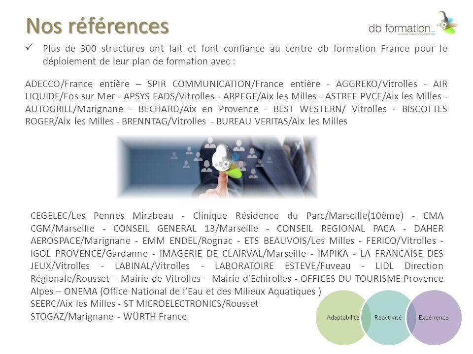 Nos références Plus de 300 structures ont fait et font confiance au centre db formation France pour le déploiement de leur plan de formation avec : AD