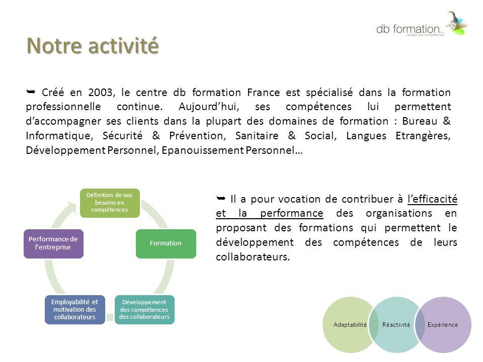Notre activité  Créé en 2003, le centre db formation France est spécialisé dans la formation professionnelle continue. Aujourd'hui, ses compétences l
