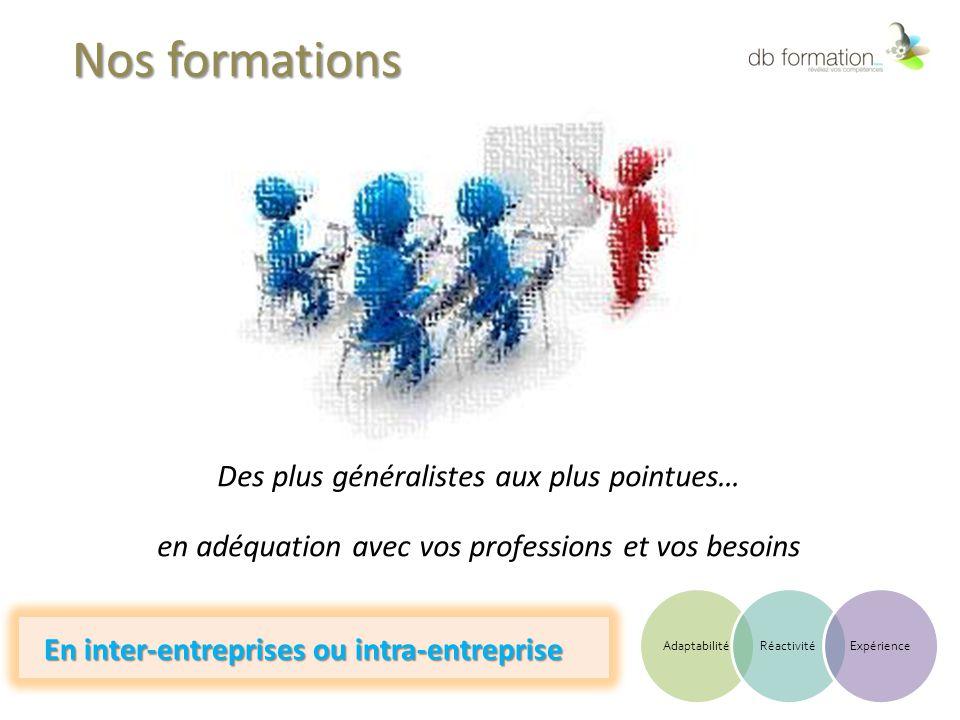 Nos formations Des plus généralistes aux plus pointues… en adéquation avec vos professions et vos besoins En inter-entreprises ou intra-entreprise