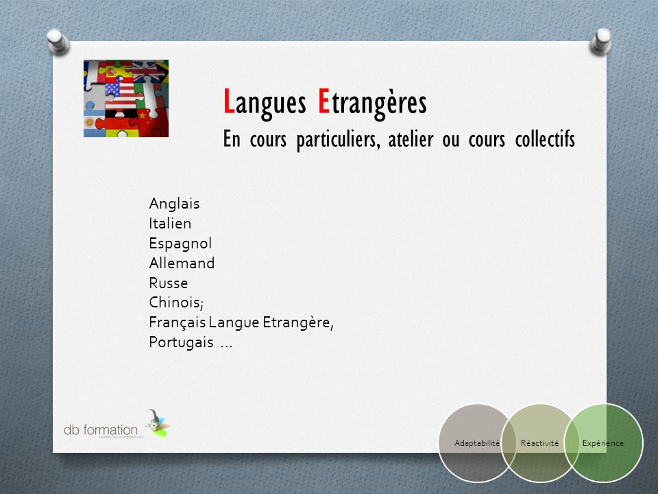 Anglais Italien Espagnol Allemand Russe Chinois; Français Langue Etrangère, Portugais … Langues Etrangères En cours particuliers, atelier ou cours col