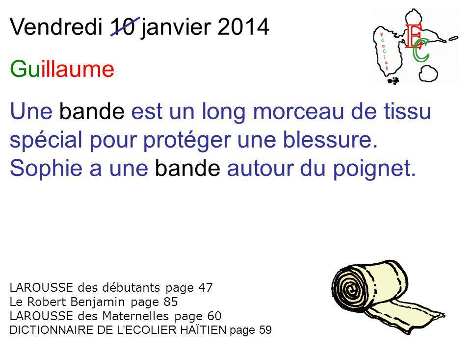 Vendredi 10 janvier 2014 Guillaume Une bande est un long morceau de tissu spécial pour protéger une blessure. Sophie a une bande autour du poignet. LA