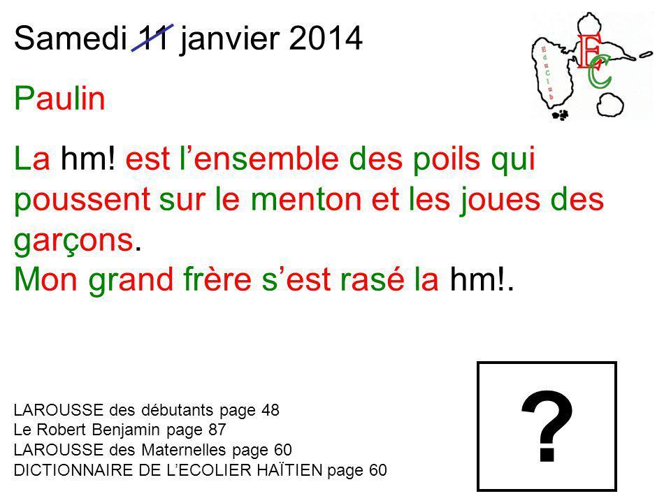 Samedi 11 janvier 2014 Paulin La hm.