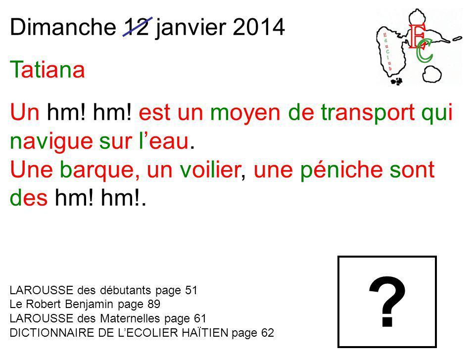 Dimanche 12 janvier 2014 Tatiana Un hm! hm! est un moyen de transport qui navigue sur l'eau. Une barque, un voilier, une péniche sont des hm! hm!. LAR