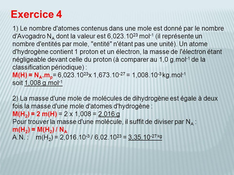 Exercice 4 2) La masse d'une mole de molécules de dihydrogène est égale à deux fois la masse d'une mole d'atomes d'hydrogène : M(H 2 ) = 2 m(H) = 2 x