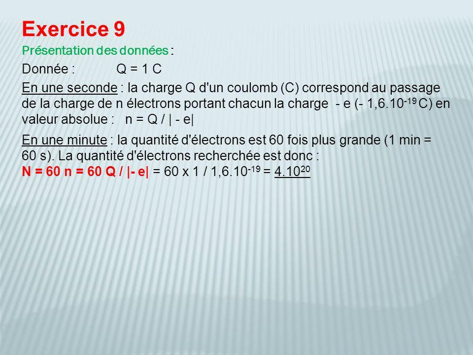 Exercice 9 Présentation des données : Donnée :Q = 1 C En une minute : la quantité d'électrons est 60 fois plus grande (1 min = 60 s). La quantité d'él