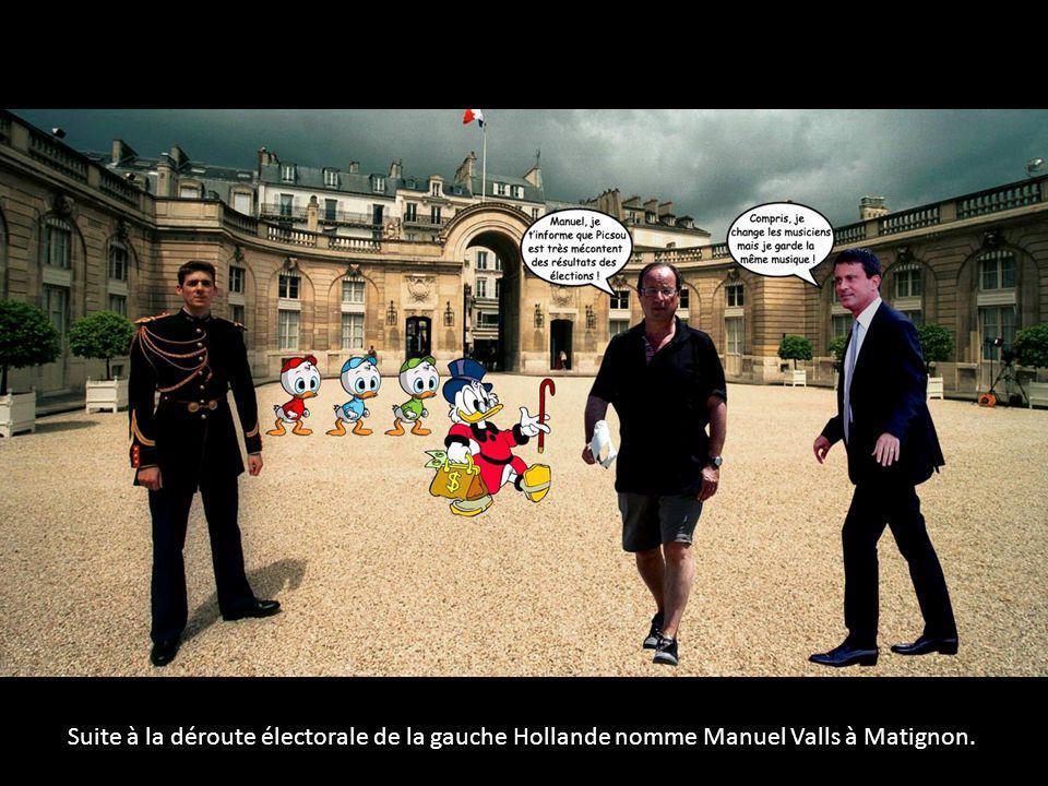 Suite à la déroute électorale de la gauche Hollande nomme Manuel Valls à Matignon.