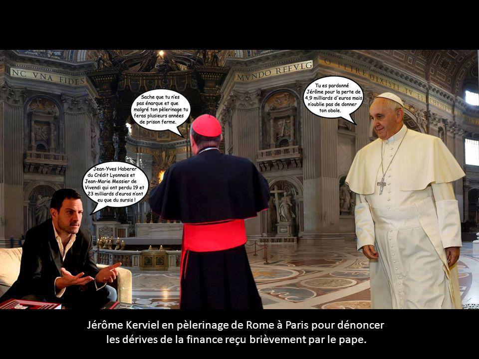 Jérôme Kerviel en pèlerinage de Rome à Paris pour dénoncer les dérives de la finance reçu brièvement par le pape.