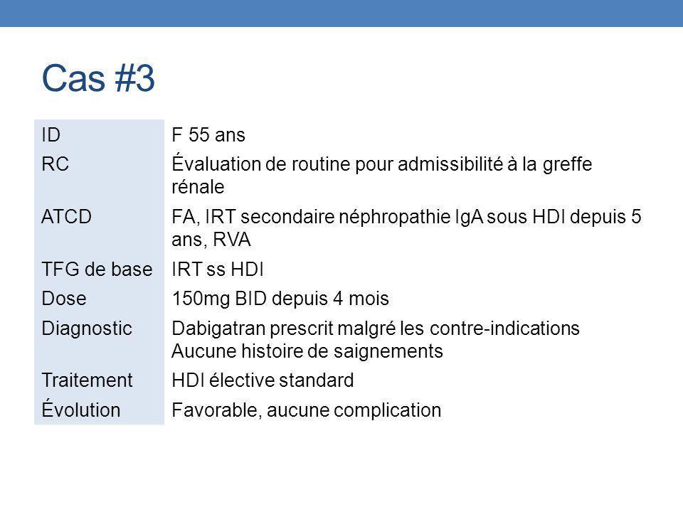 Cas #3 IDF 55 ans RCÉvaluation de routine pour admissibilité à la greffe rénale ATCDFA, IRT secondaire néphropathie IgA sous HDI depuis 5 ans, RVA TFG