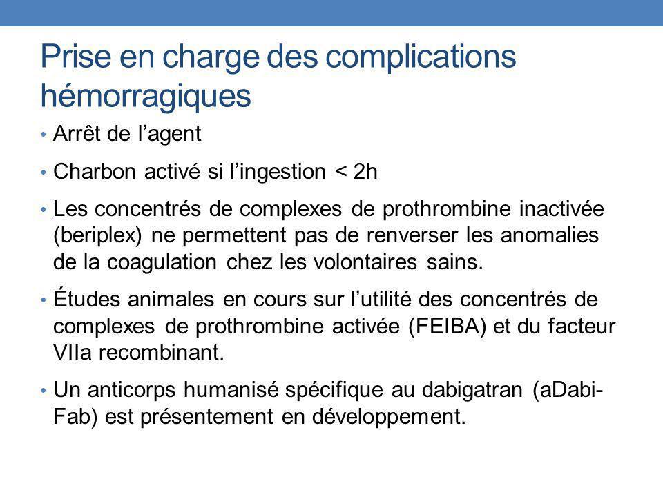 Prise en charge des complications hémorragiques Arrêt de l'agent Charbon activé si l'ingestion < 2h Les concentrés de complexes de prothrombine inacti