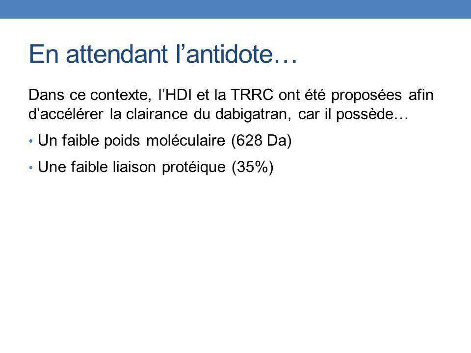 Patient 1Patient 2Patient 3Patient 4Patient 5Patient 6 ModalitéIHD CVVHDFCVVHDIHD ½-vie per dialyse (h) 3.1 (95% CI 2.6-3.8) 4.9 (95% CI 4.4-5.6) 2.0 (95% CI 1.2-6.1) 27.5 (95% CI 25.1-30.5) 13.7 (95% CI 12.2-15.4) 3.8 (95% CI 3.2-4.7) Clairance de la dialyse (ml/min) Calculs impossibles 91169 Données insuffisantes Calculs impossibles Survie au congé OuiNonOui Issues pharmacocinétiques