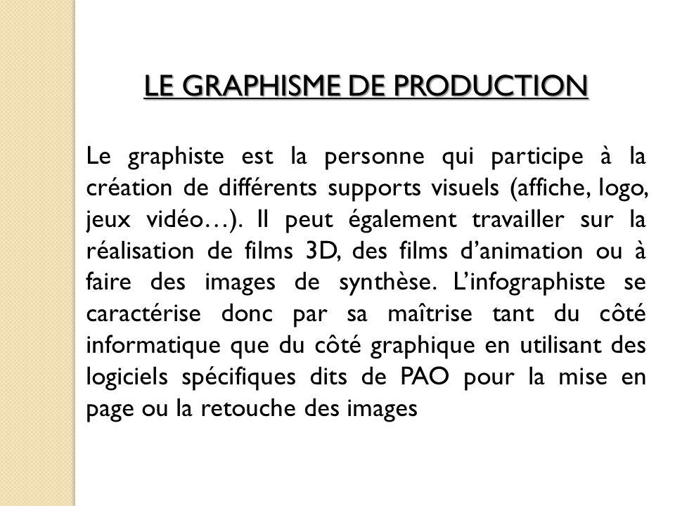 LE GRAPHISME DE PRODUCTION Le graphiste est la personne qui participe à la création de différents supports visuels (affiche, logo, jeux vidéo…).