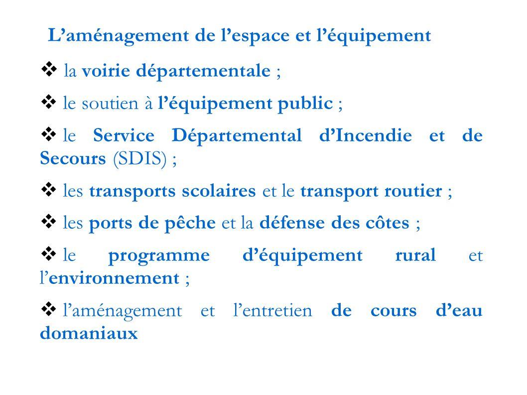 L'aménagement de l'espace et l'équipement  la voirie départementale ;  le soutien à l'équipement public ;  le Service Départemental d'Incendie et de Secours (SDIS) ;  les transports scolaires et le transport routier ;  les ports de pêche et la défense des côtes ;  le programme d'équipement rural et l'environnement ;  l'aménagement et l'entretien de cours d'eau domaniaux