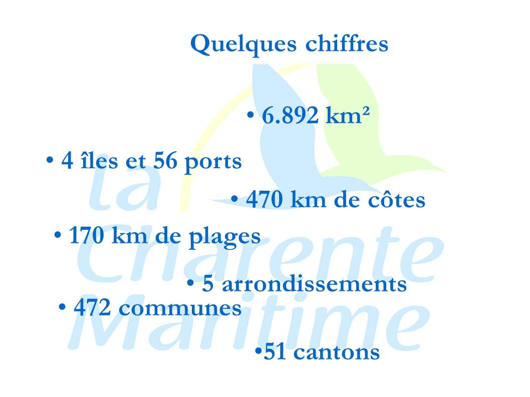 6.892 km² 170 km de plages 4 îles et 56 ports 470 km de côtes 5 arrondissements 472 communes 51 cantons Quelques chiffres