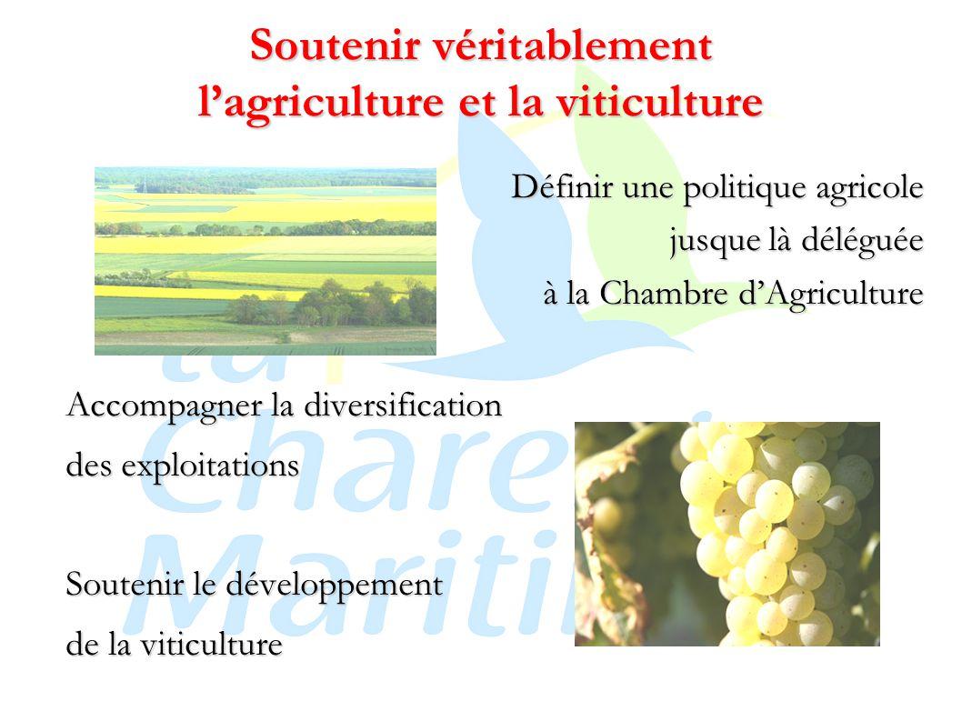 Soutenir véritablement l'agriculture et la viticulture Définir une politique agricole jusque là déléguée à la Chambre d'Agriculture Accompagner la diversification des exploitations Soutenir le développement de la viticulture