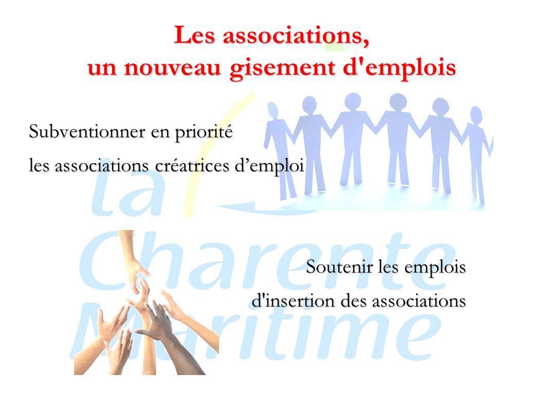 Les associations, un nouveau gisement d emplois Subventionner en priorité les associations créatrices d'emploi Soutenir les emplois d insertion des associations