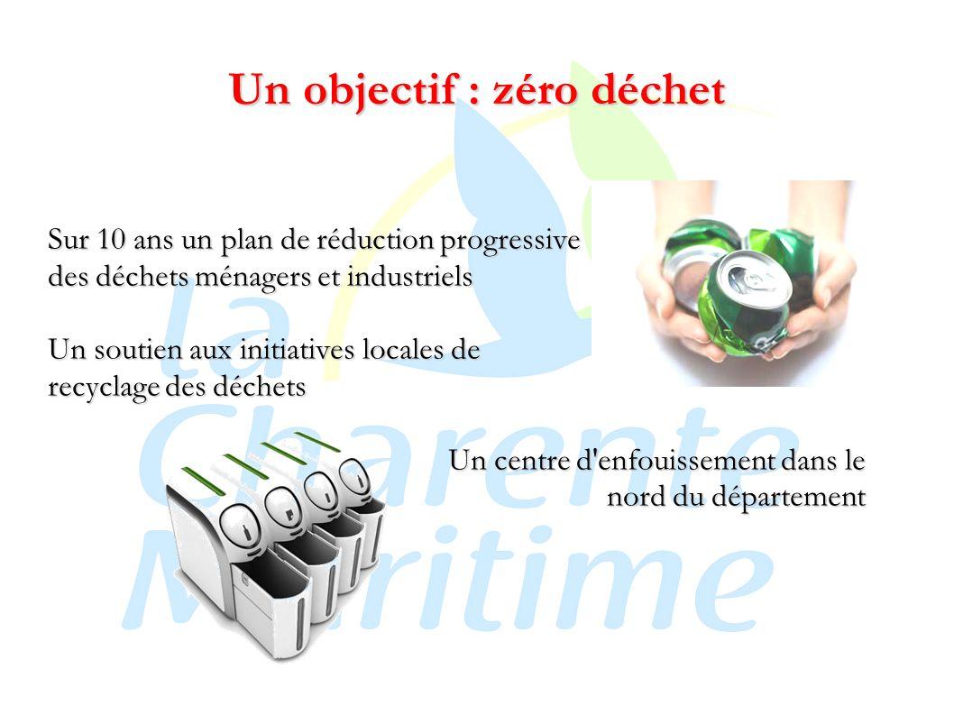 Un objectif : zéro déchet Sur 10 ans un plan de réduction progressive des déchets ménagers et industriels Un soutien aux initiatives locales de recyclage des déchets Un centre d enfouissement dans le nord du département