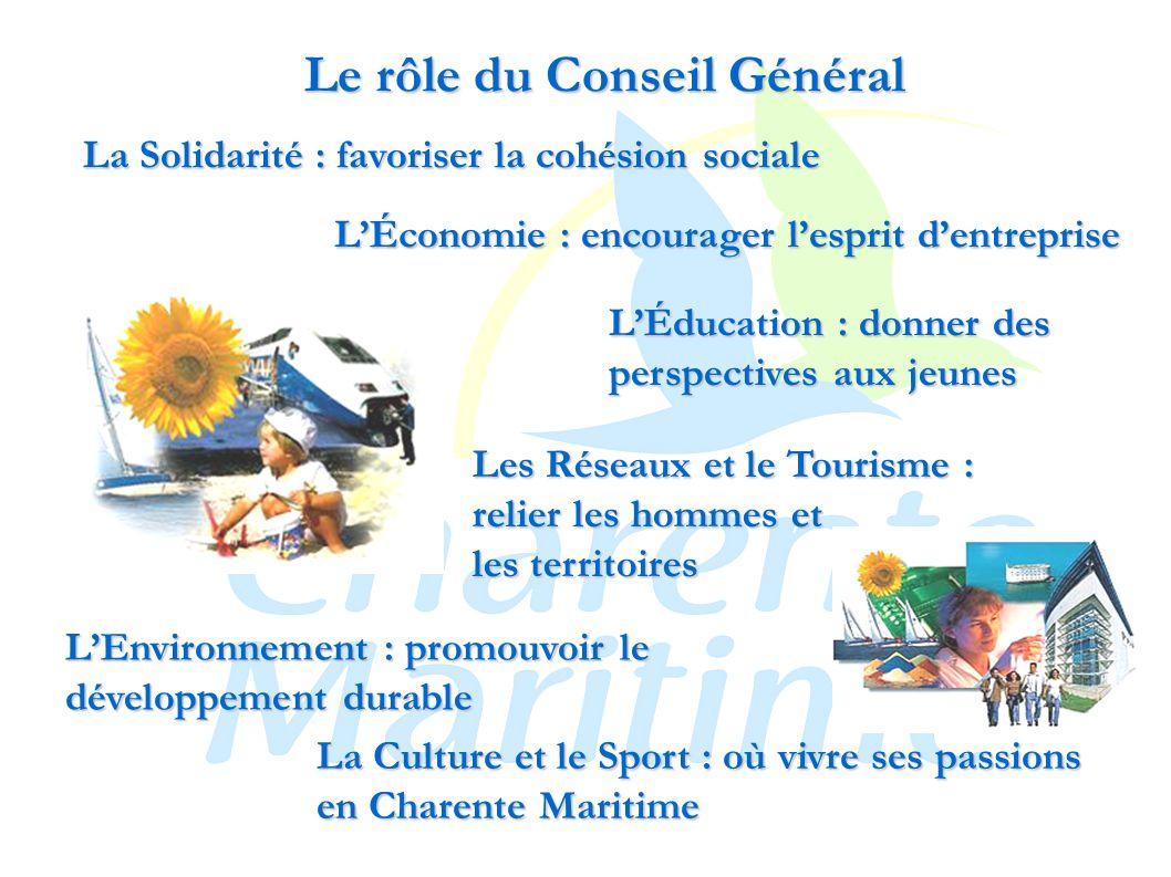 Le rôle du Conseil Général L'Économie : encourager l'esprit d'entreprise La Solidarité : favoriser la cohésion sociale L'Éducation : donner des perspectives aux jeunes Les Réseaux et le Tourisme : relier les hommes et les territoires L'Environnement : promouvoir le développement durable La Culture et le Sport : où vivre ses passions en Charente Maritime