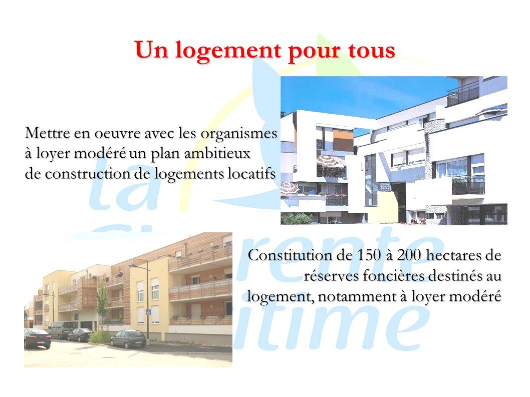 Un logement pour tous Mettre en oeuvre avec les organismes à loyer modéré un plan ambitieux de construction de logements locatifs Constitution de 150 à 200 hectares de réserves foncières destinés au logement, notamment à loyer modéré
