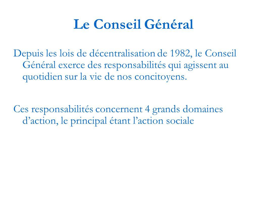 Le Conseil Général Depuis les lois de décentralisation de 1982, le Conseil Général exerce des responsabilités qui agissent au quotidien sur la vie de nos concitoyens.