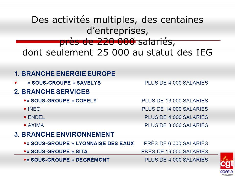 Des activités multiples, des centaines d'entreprises, près de 220 000 salariés, dont seulement 25 000 au statut des IEG 1. BRANCHE ENERGIE EUROPE « SO